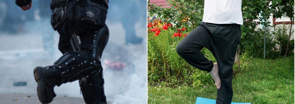 Tienen que relajarse: policías del Esmad hicieron yoga en Medellín