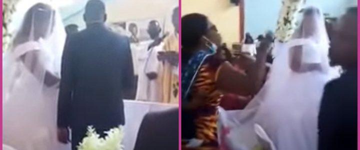 Mujer llegó furiosa a interrumpir el matrimonio de su esposo con otra