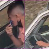 (VIDEO) Hombre se afeita mientras maneja y se vuelve viral